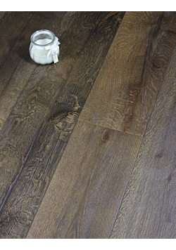 Long Plank Distressed Dark Wood Flooring