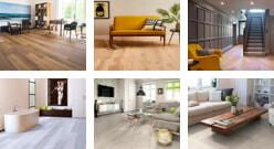 Living room with herringbone floor